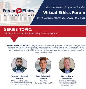 Byron Roth to host DeSales Univeristy on Ethics Forum March 2021